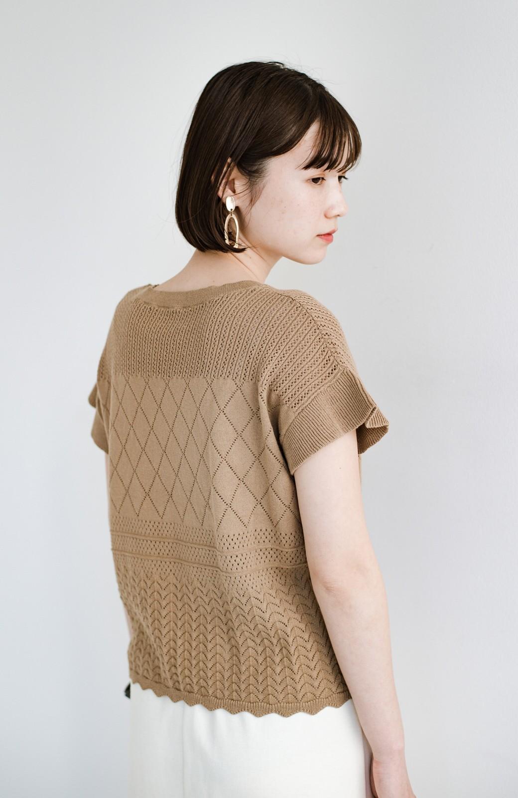 haco! (φ)透けすぎないから安心して着られる 華やか透かし編みニットトップス <カーキブラウン>の商品写真25