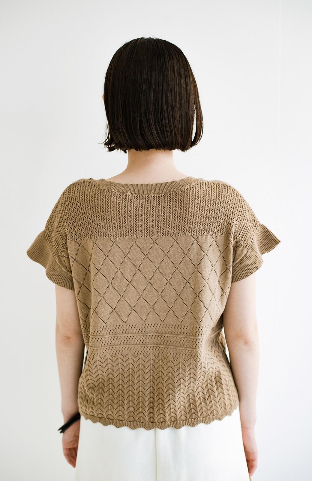 haco! (φ)透けすぎないから安心して着られる 華やか透かし編みニットトップス <カーキブラウン>の商品写真11