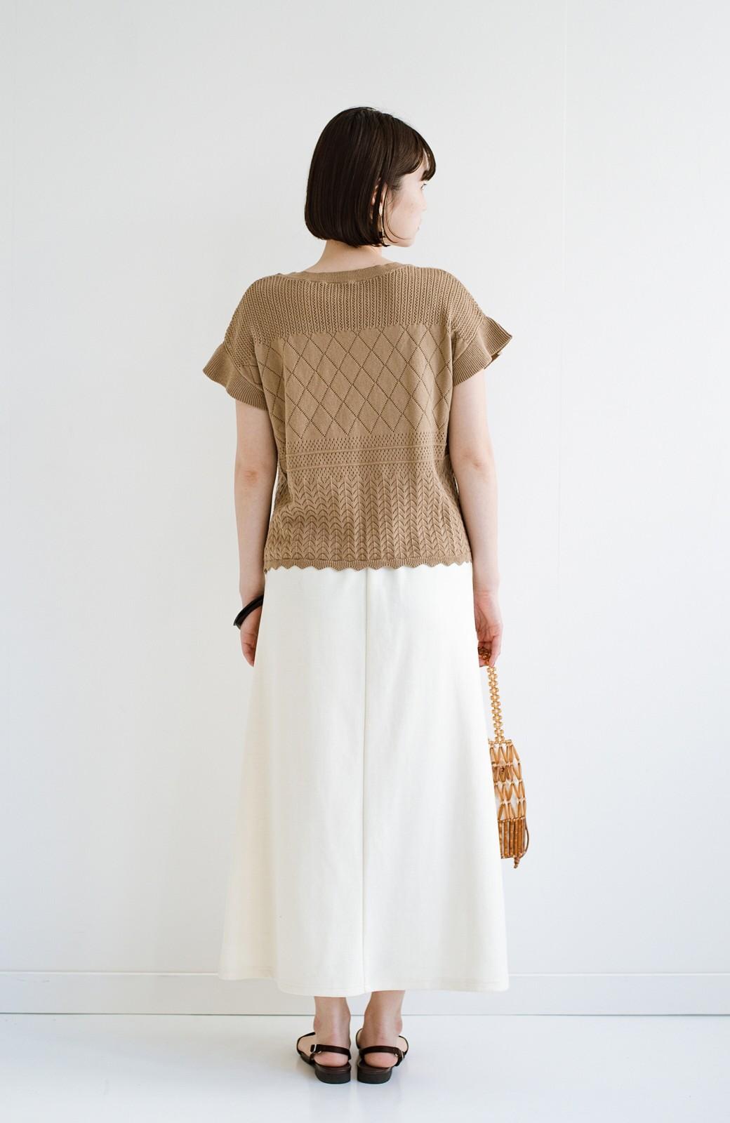 haco! (φ)透けすぎないから安心して着られる 華やか透かし編みニットトップス <カーキブラウン>の商品写真19