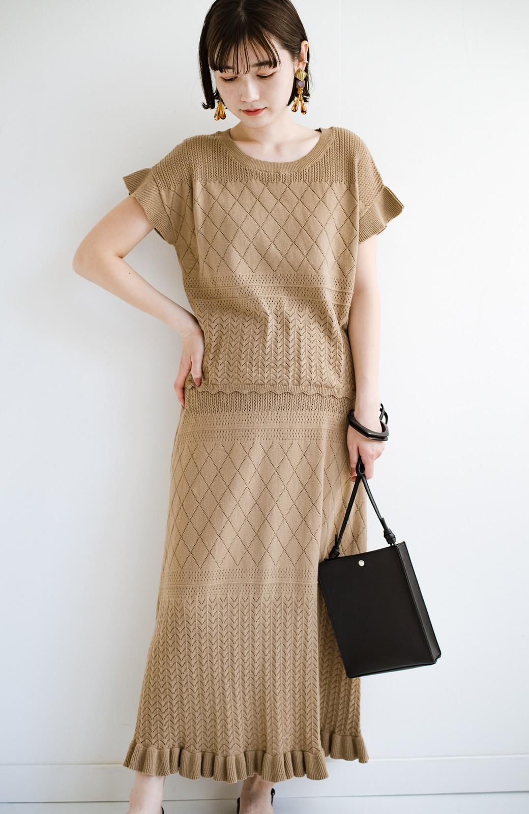 haco! (φ)透けすぎないから安心して着られる 華やか透かし編みニットトップス <カーキブラウン>の商品写真13