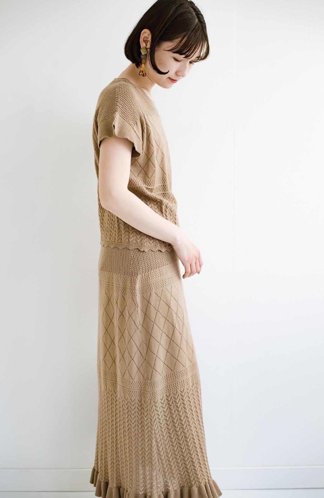 haco! (φ)透けすぎないから安心して着られる 華やか透かし編みニットトップス <カーキブラウン>の商品写真22