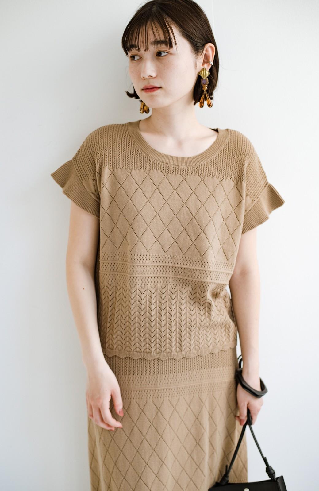 haco! (φ)透けすぎないから安心して着られる 華やか透かし編みニットトップス <カーキブラウン>の商品写真23