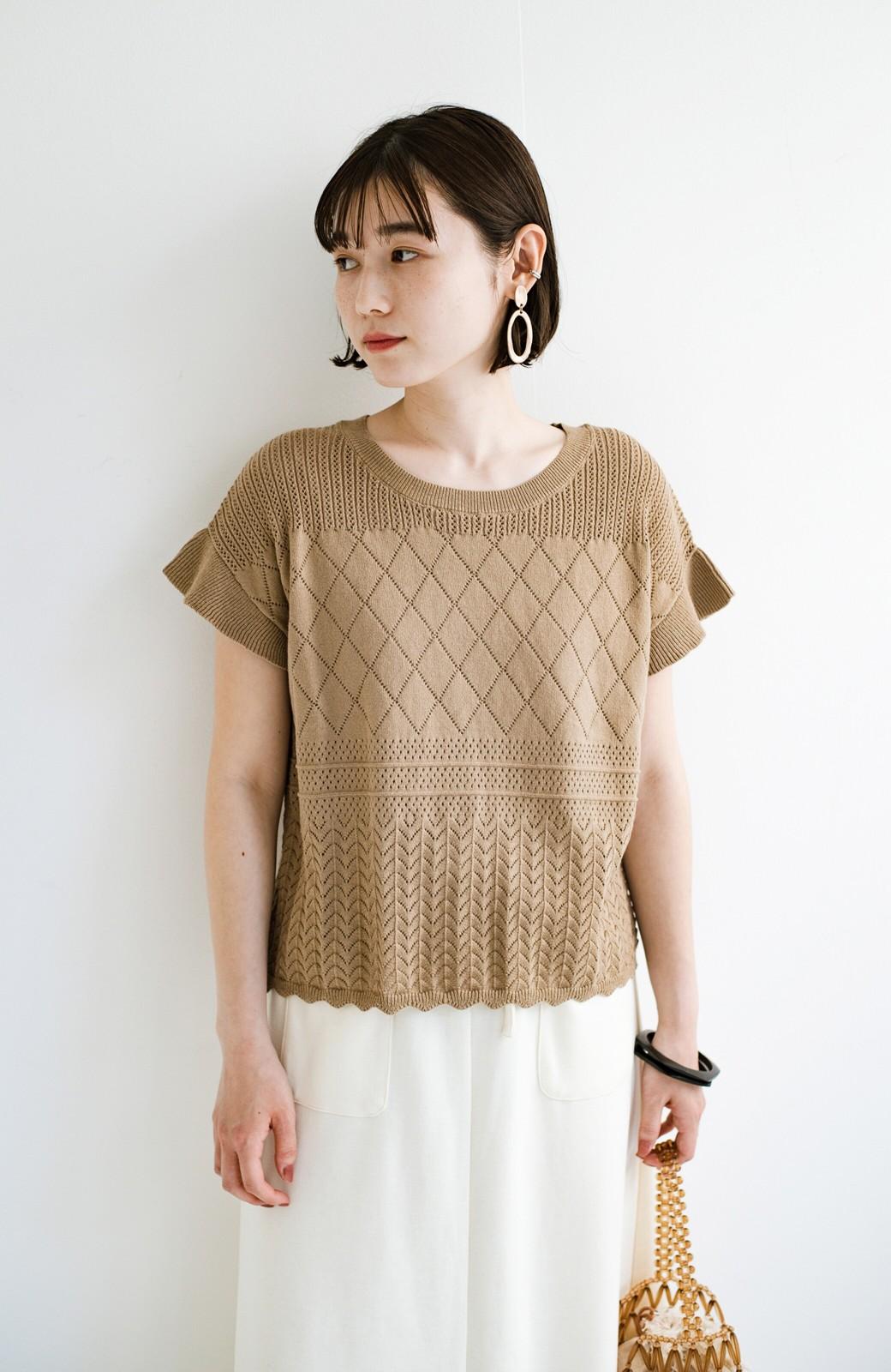 haco! (φ)透けすぎないから安心して着られる 華やか透かし編みニットトップス <カーキブラウン>の商品写真24