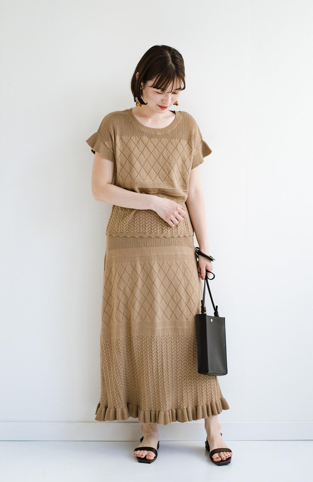 haco! (φ)透けすぎないから安心して着られる 華やか透かし編みニットトップス <カーキブラウン>の商品写真14