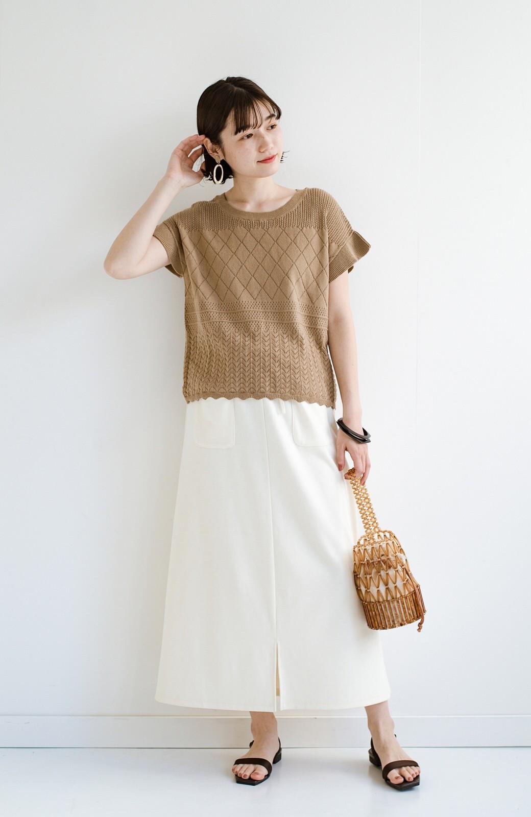 haco! (φ)透けすぎないから安心して着られる 華やか透かし編みニットトップス <カーキブラウン>の商品写真15