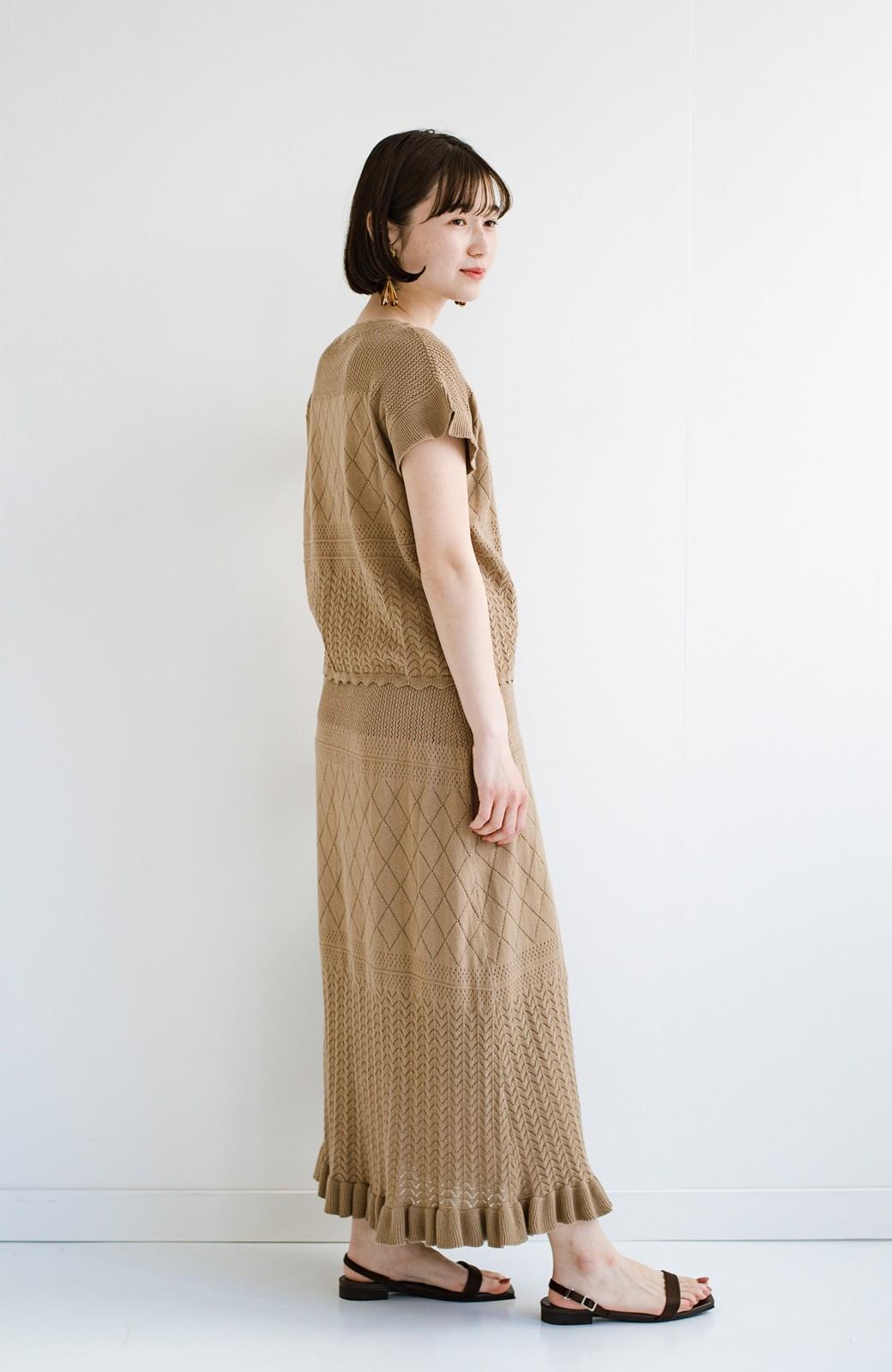 haco! (φ)透けすぎないから安心して着られる 華やか透かし編みニットトップス <カーキブラウン>の商品写真16
