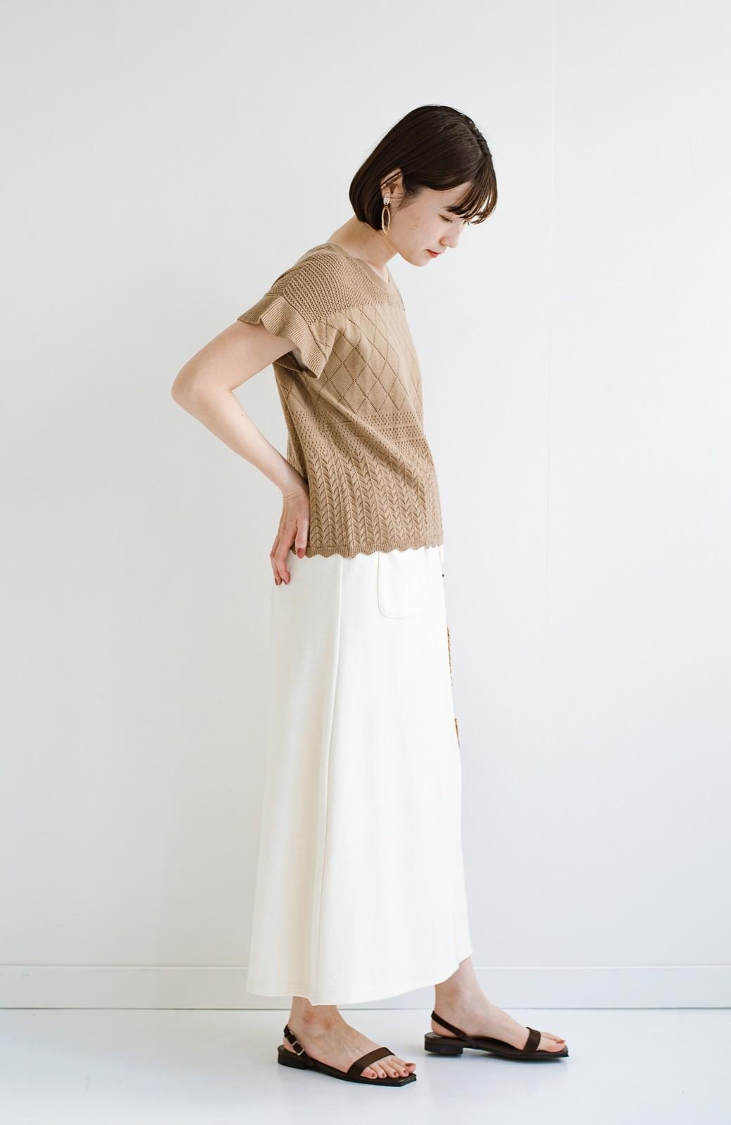 haco! (φ)透けすぎないから安心して着られる 華やか透かし編みニットトップス <カーキブラウン>の商品写真17