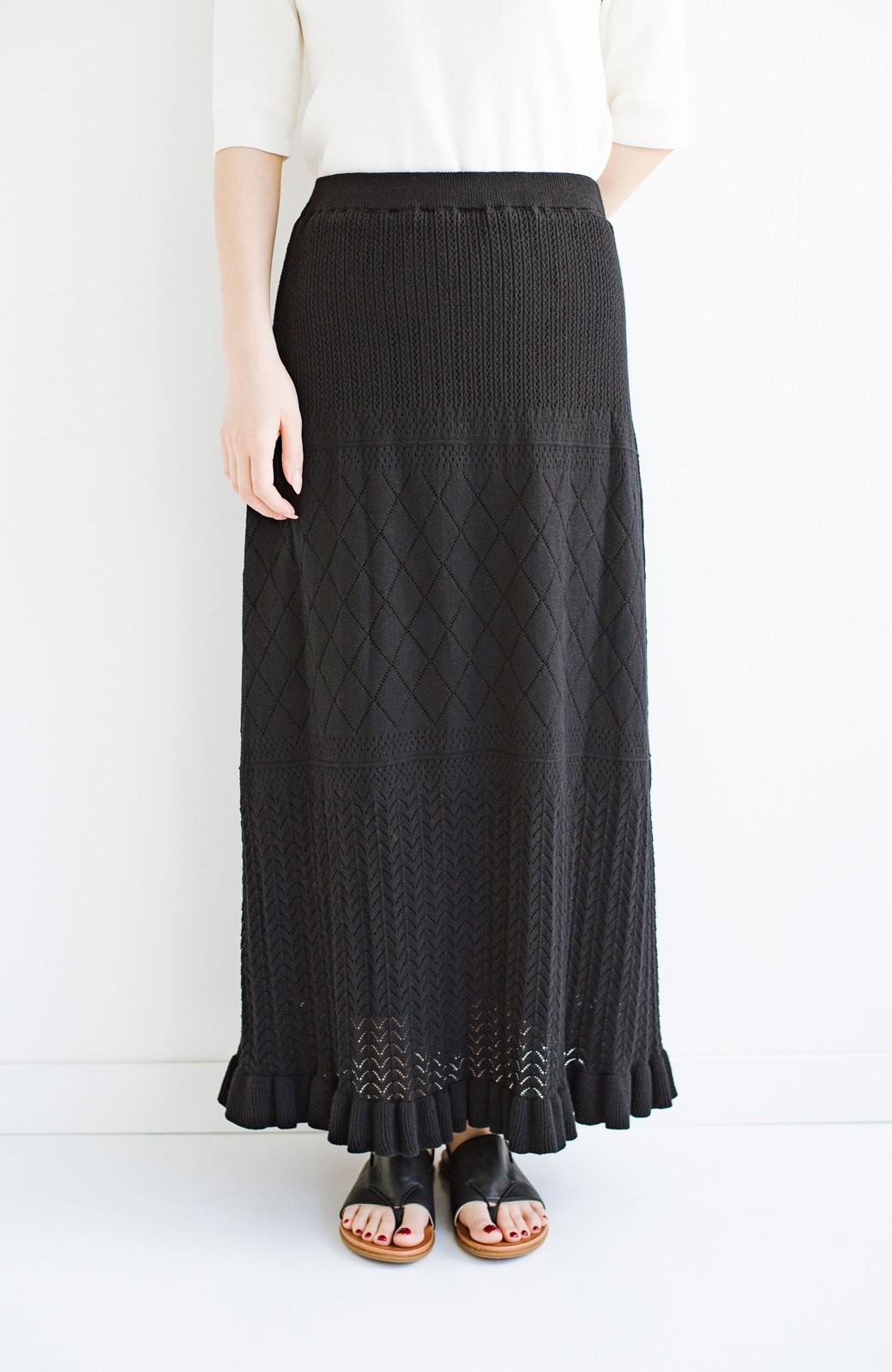 haco! (φ)Tシャツにもスウェットにも!裏地付きで長く着られる透かし編みニットスカート <ブラック>の商品写真7