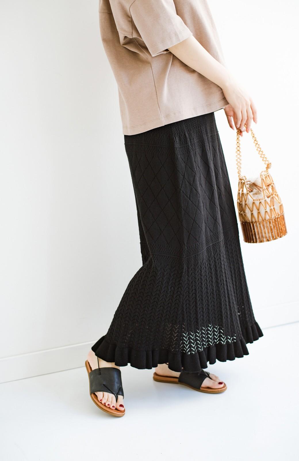 haco! (φ)Tシャツにもスウェットにも!裏地付きで長く着られる透かし編みニットスカート <ブラック>の商品写真12