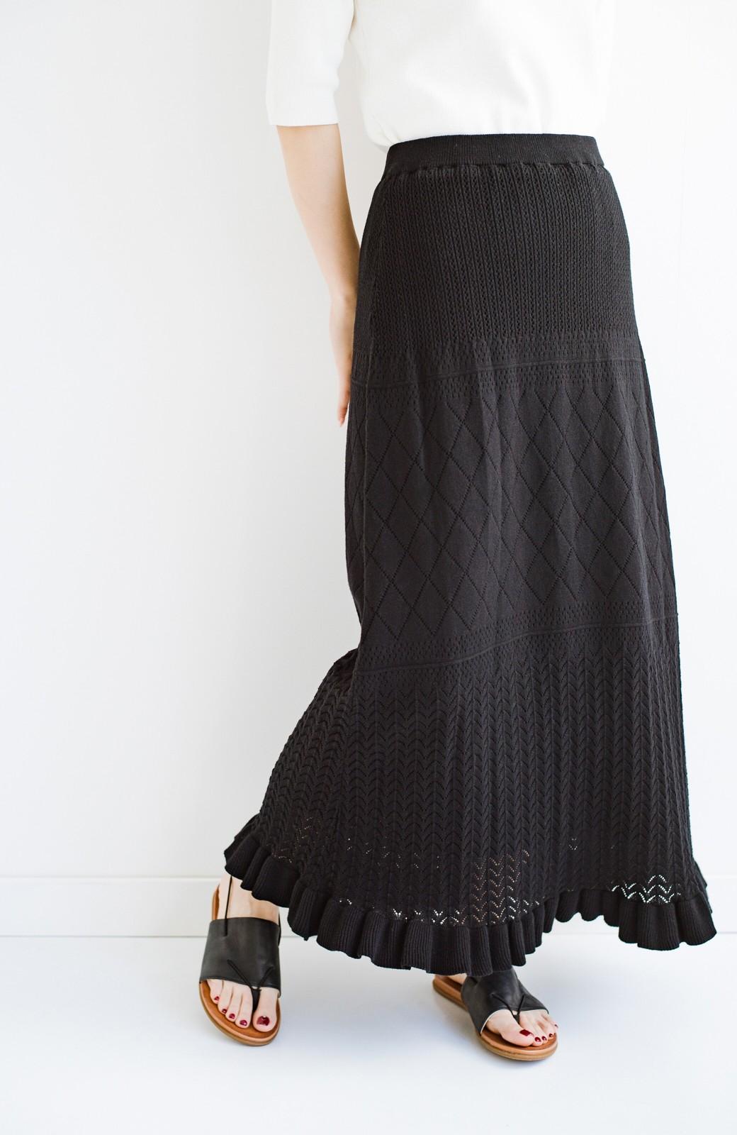 haco! (φ)Tシャツにもスウェットにも!裏地付きで長く着られる透かし編みニットスカート <ブラック>の商品写真24