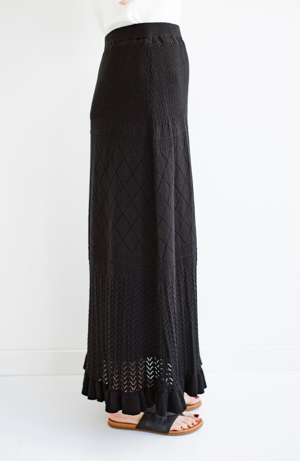 haco! (φ)Tシャツにもスウェットにも!裏地付きで長く着られる透かし編みニットスカート <ブラック>の商品写真23