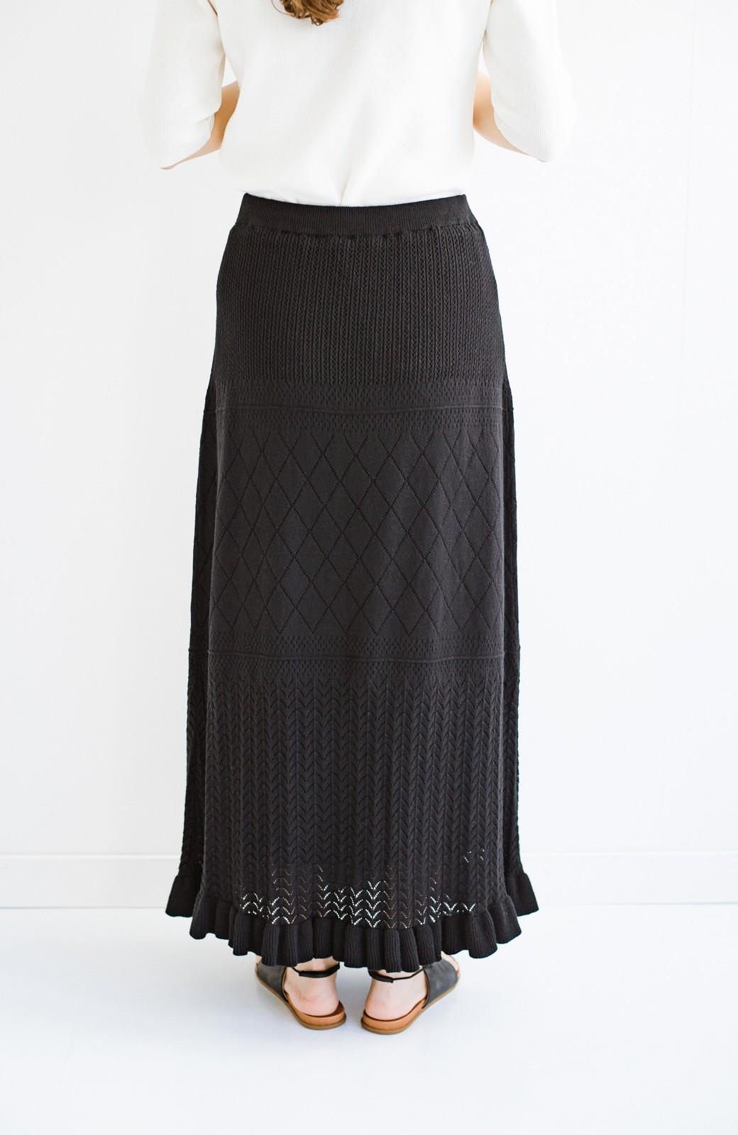 haco! (φ)Tシャツにもスウェットにも!裏地付きで長く着られる透かし編みニットスカート <ブラック>の商品写真8