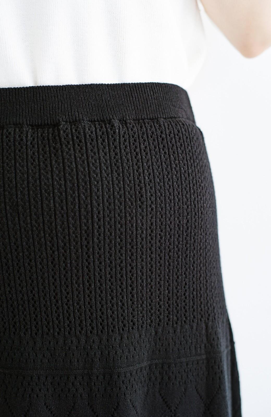 haco! (φ)Tシャツにもスウェットにも!裏地付きで長く着られる透かし編みニットスカート <ブラック>の商品写真9