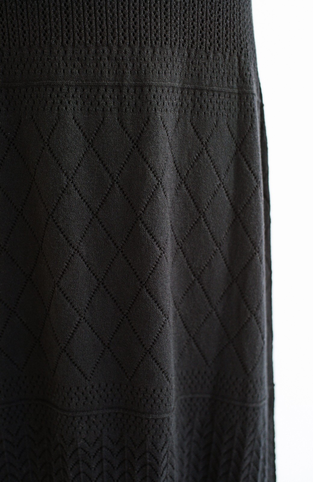 haco! (φ)Tシャツにもスウェットにも!裏地付きで長く着られる透かし編みニットスカート <ブラック>の商品写真10