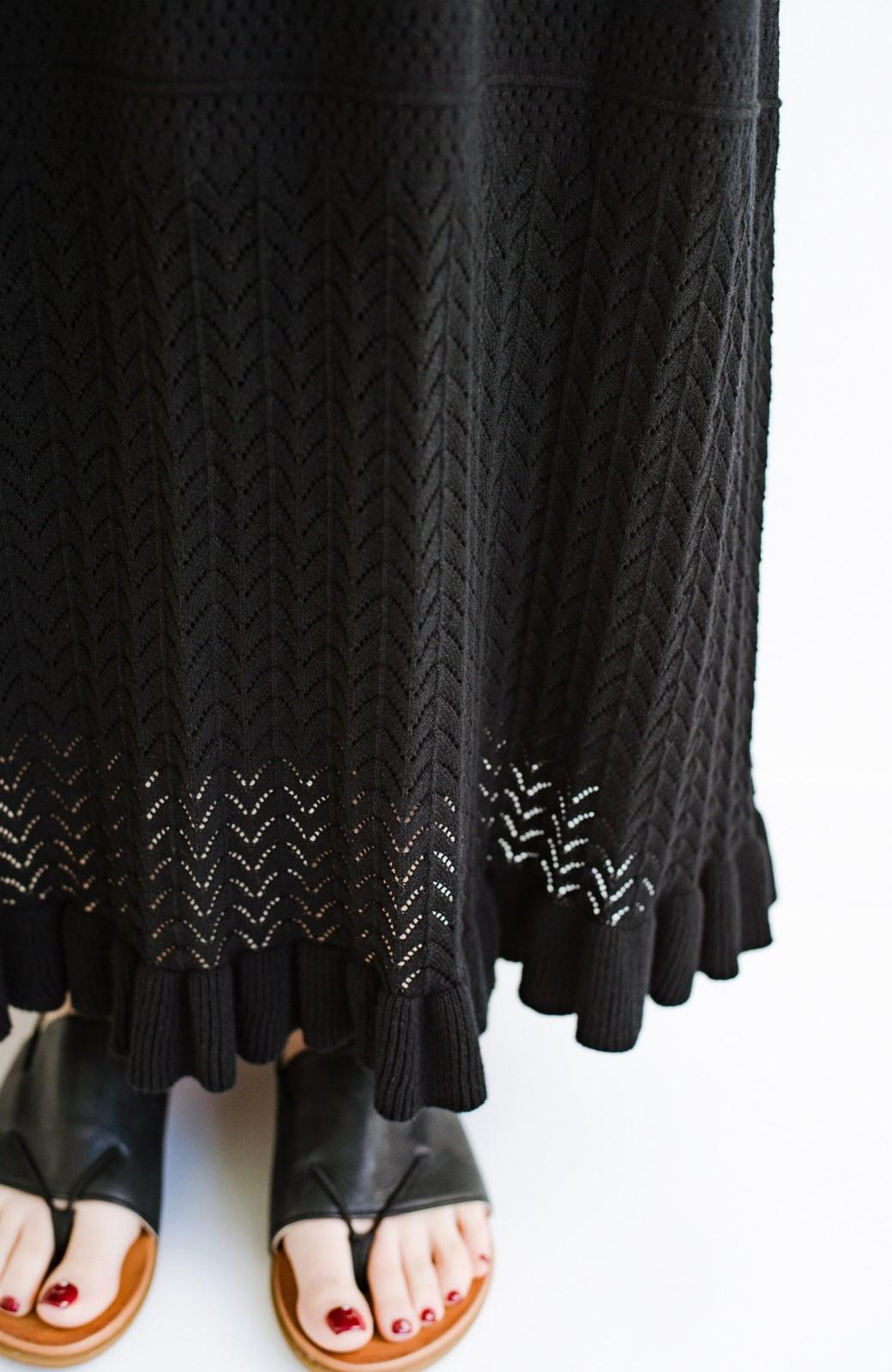 haco! (φ)Tシャツにもスウェットにも!裏地付きで長く着られる透かし編みニットスカート <ブラック>の商品写真11