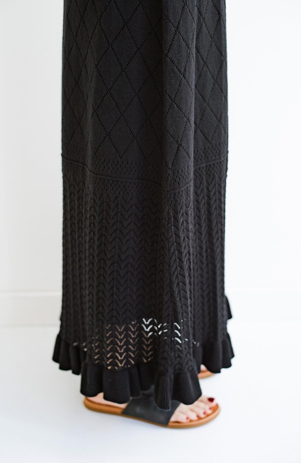 haco! (φ)Tシャツにもスウェットにも!裏地付きで長く着られる透かし編みニットスカート <ブラック>の商品写真22
