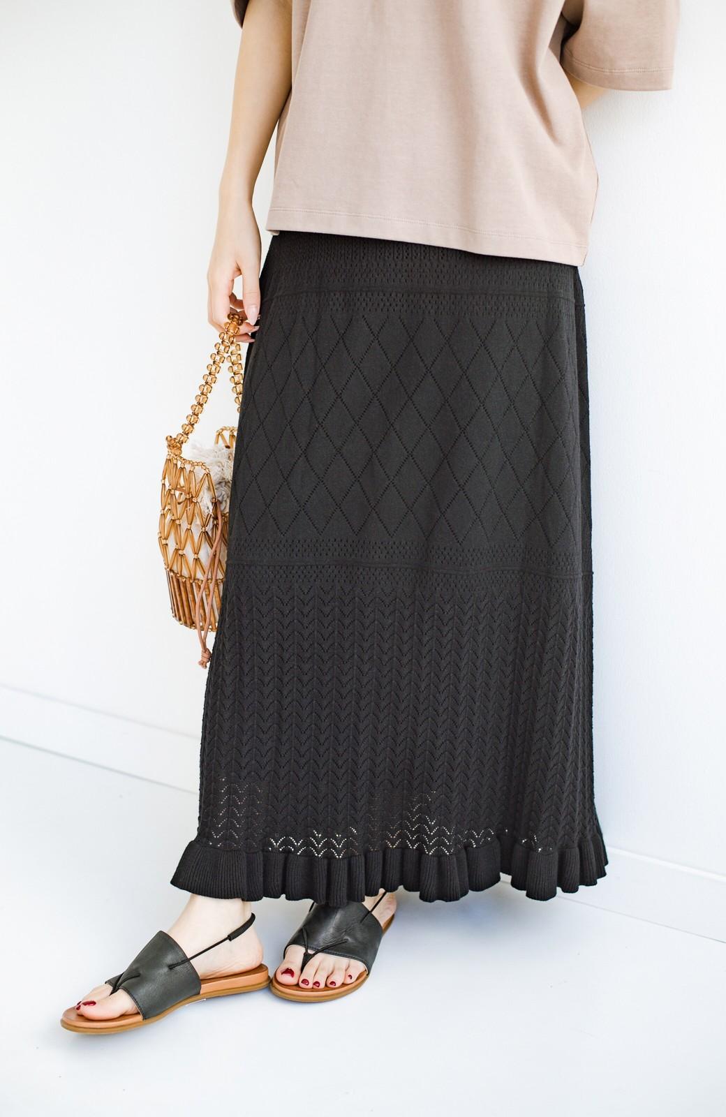 haco! (φ)Tシャツにもスウェットにも!裏地付きで長く着られる透かし編みニットスカート <ブラック>の商品写真6