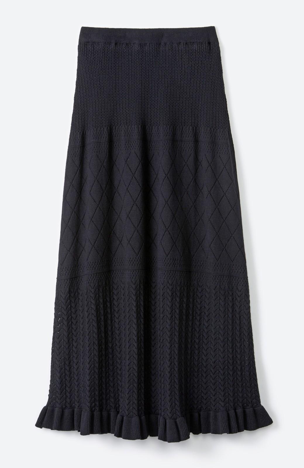 haco! (φ)Tシャツにもスウェットにも!裏地付きで長く着られる透かし編みニットスカート <ブラック>の商品写真5
