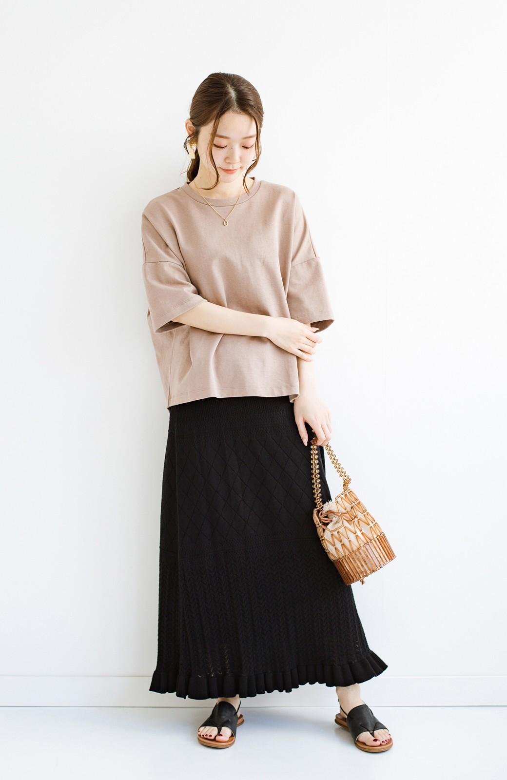 haco! (φ)Tシャツにもスウェットにも!裏地付きで長く着られる透かし編みニットスカート <ブラック>の商品写真14
