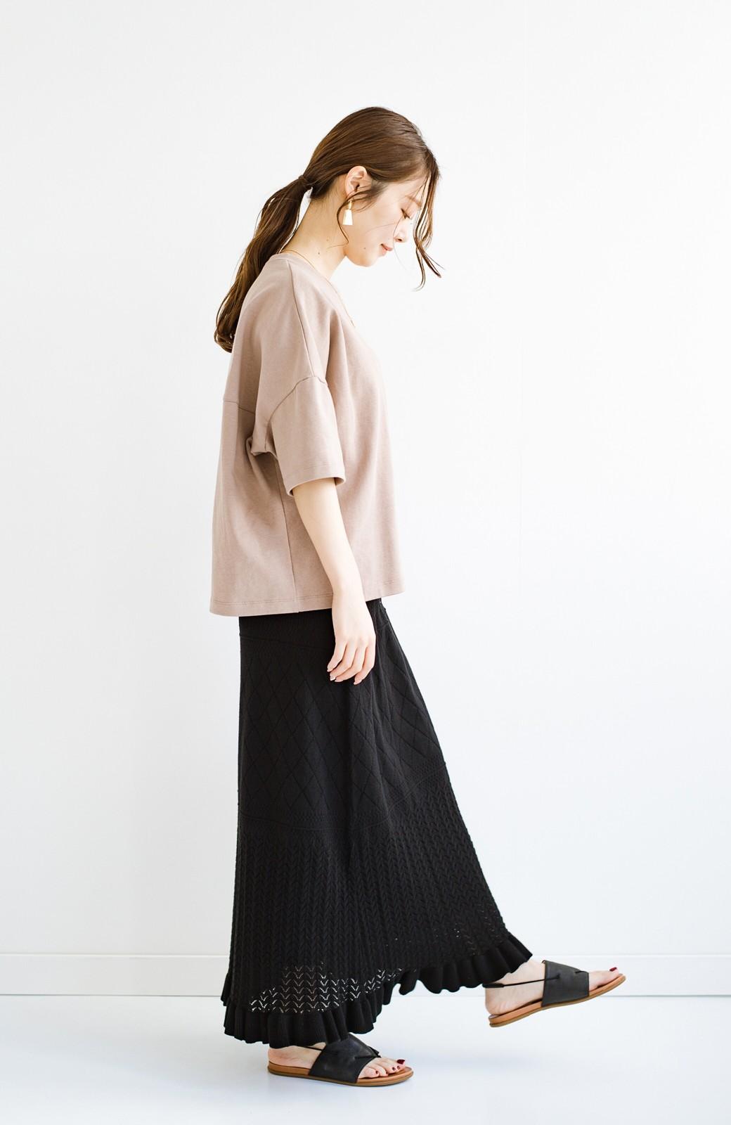 haco! (φ)Tシャツにもスウェットにも!裏地付きで長く着られる透かし編みニットスカート <ブラック>の商品写真17