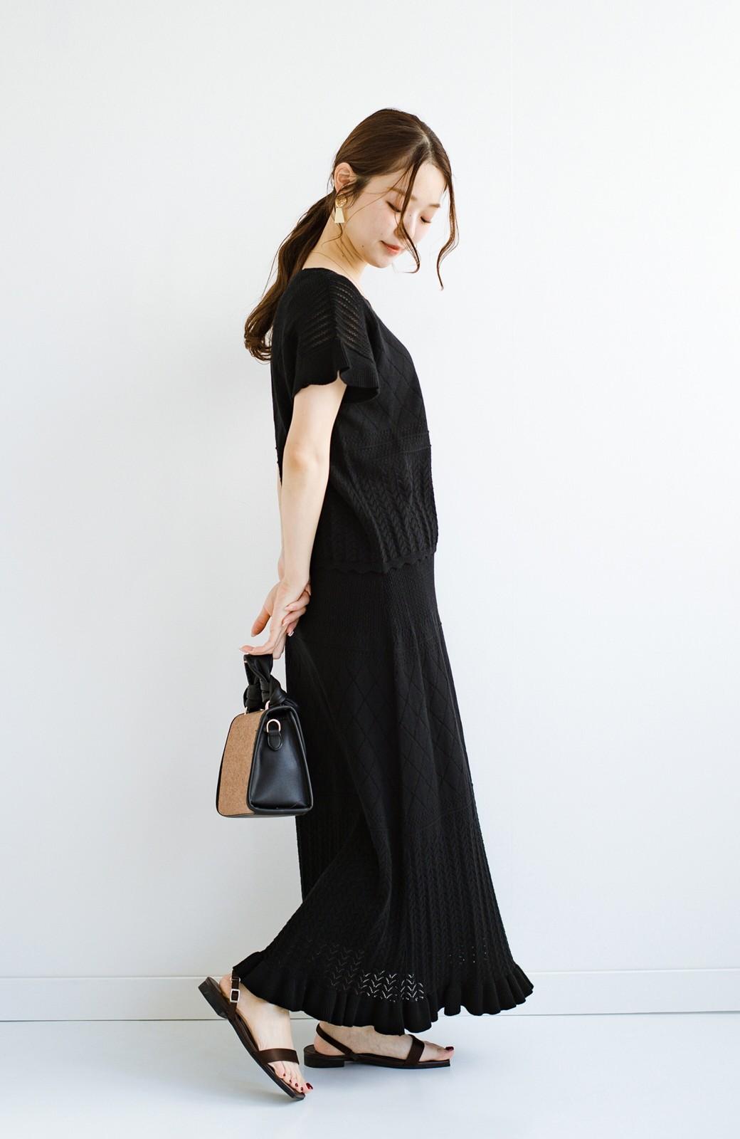 haco! (φ)Tシャツにもスウェットにも!裏地付きで長く着られる透かし編みニットスカート <ブラック>の商品写真21