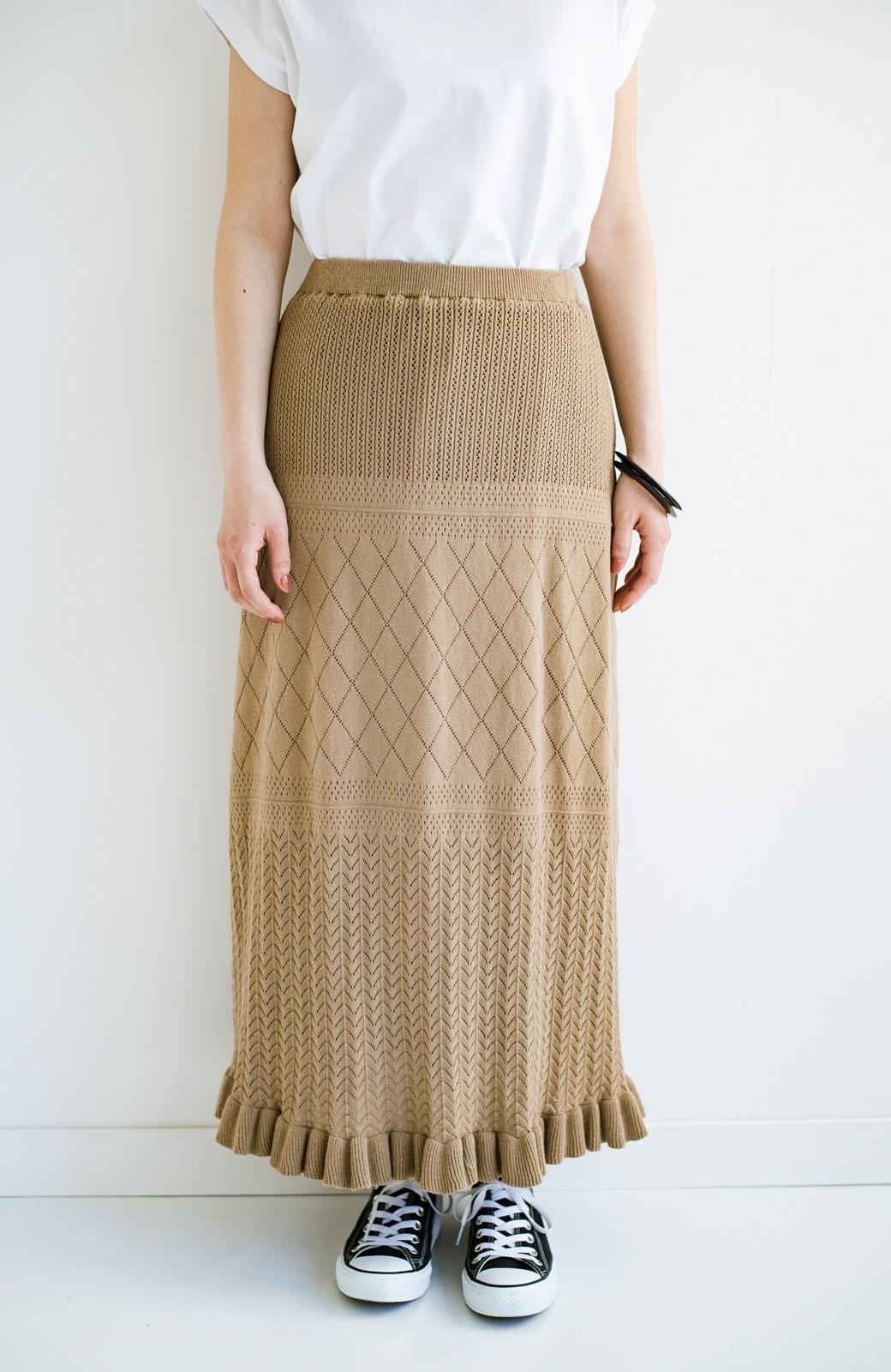 haco! (φ)Tシャツにもスウェットにも!裏地付きで長く着られる透かし編みニットスカート <カーキブラウン>の商品写真11
