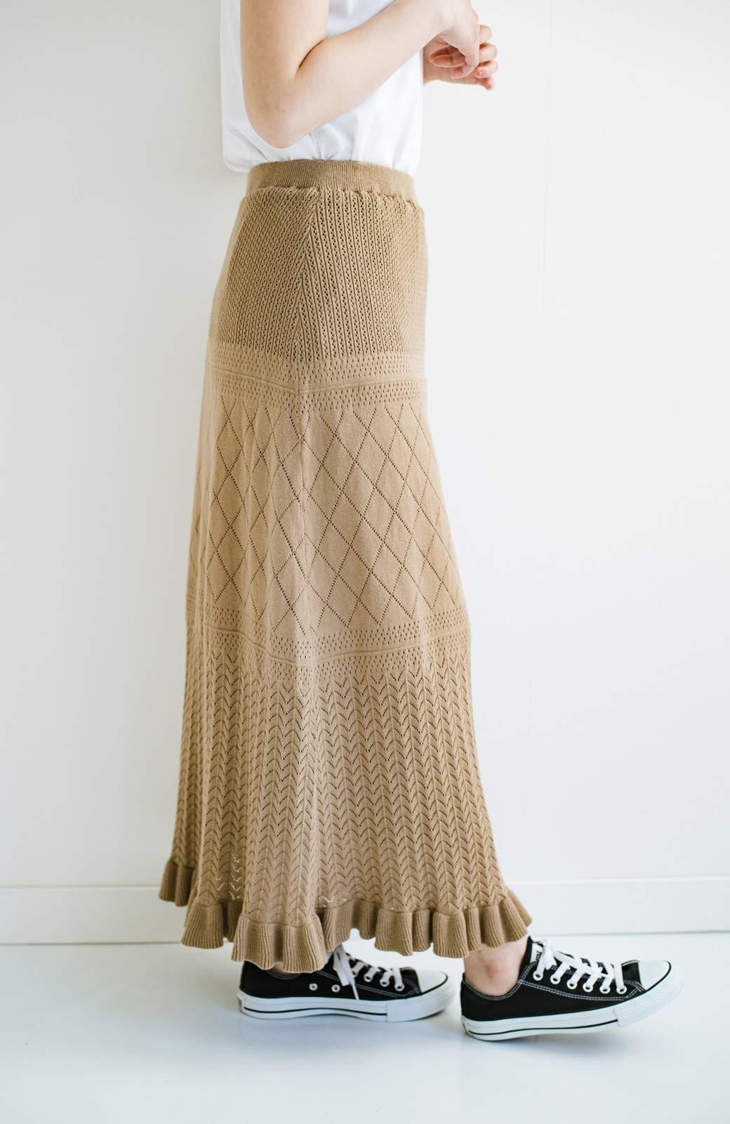 haco! (φ)Tシャツにもスウェットにも!裏地付きで長く着られる透かし編みニットスカート <カーキブラウン>の商品写真24