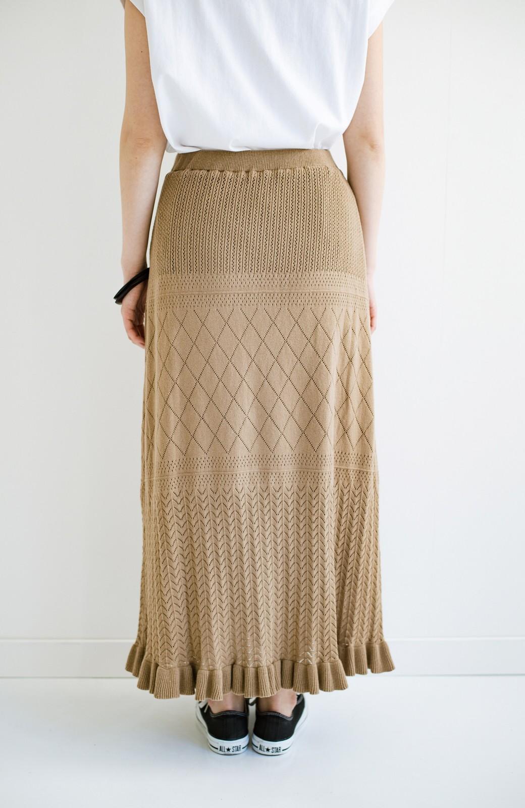 haco! (φ)Tシャツにもスウェットにも!裏地付きで長く着られる透かし編みニットスカート <カーキブラウン>の商品写真12