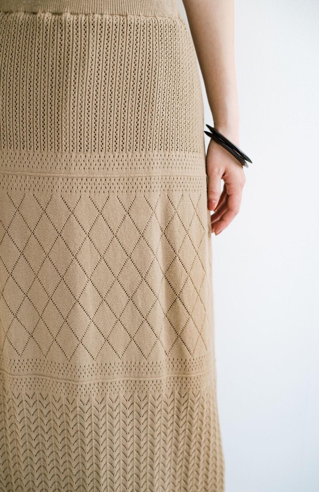 haco! (φ)Tシャツにもスウェットにも!裏地付きで長く着られる透かし編みニットスカート <カーキブラウン>の商品写真9