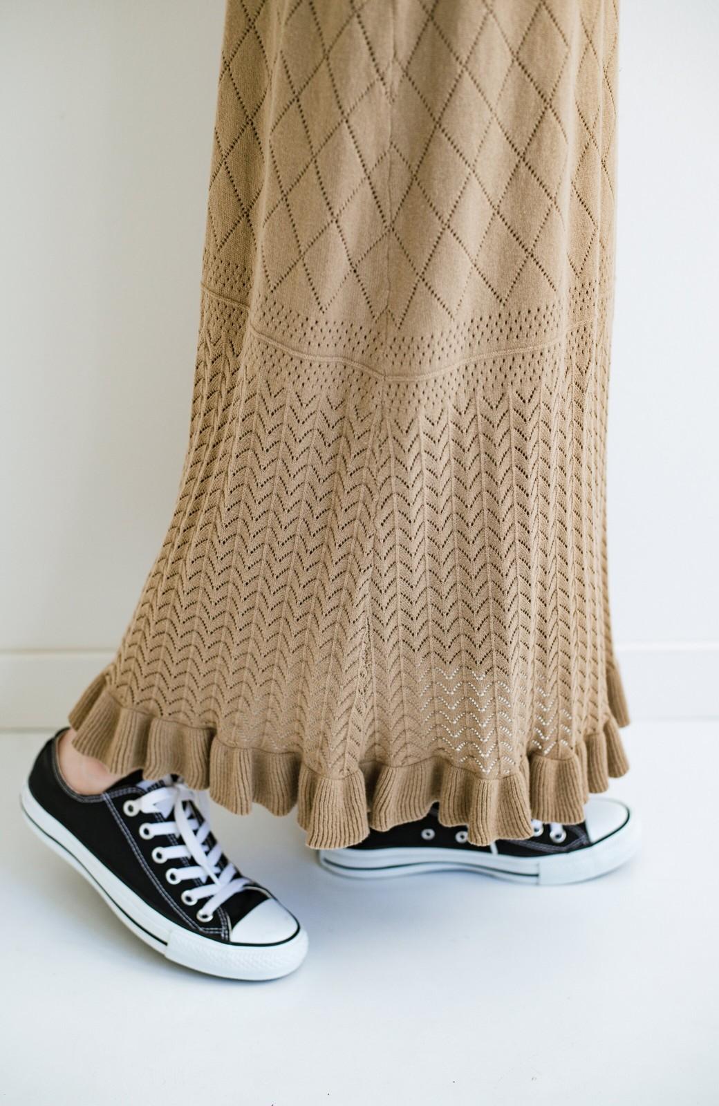 haco! (φ)Tシャツにもスウェットにも!裏地付きで長く着られる透かし編みニットスカート <カーキブラウン>の商品写真10