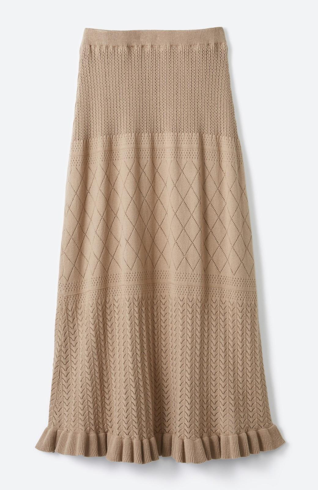 haco! (φ)Tシャツにもスウェットにも!裏地付きで長く着られる透かし編みニットスカート <カーキブラウン>の商品写真5