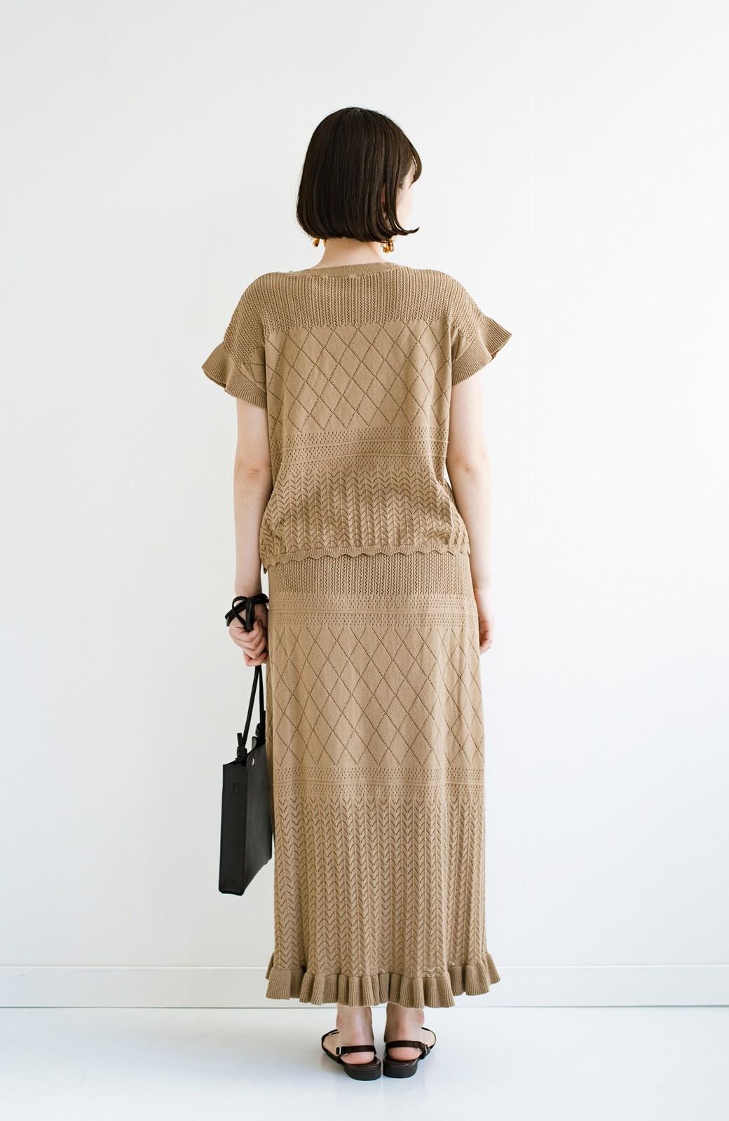 haco! (φ)Tシャツにもスウェットにも!裏地付きで長く着られる透かし編みニットスカート <カーキブラウン>の商品写真21