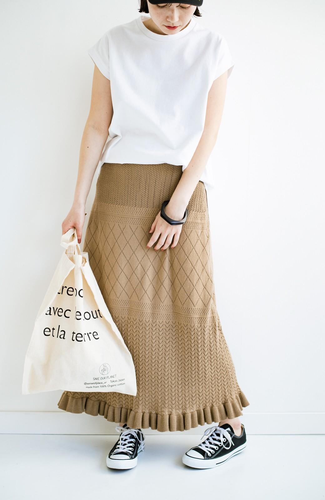 haco! (φ)Tシャツにもスウェットにも!裏地付きで長く着られる透かし編みニットスカート <カーキブラウン>の商品写真25
