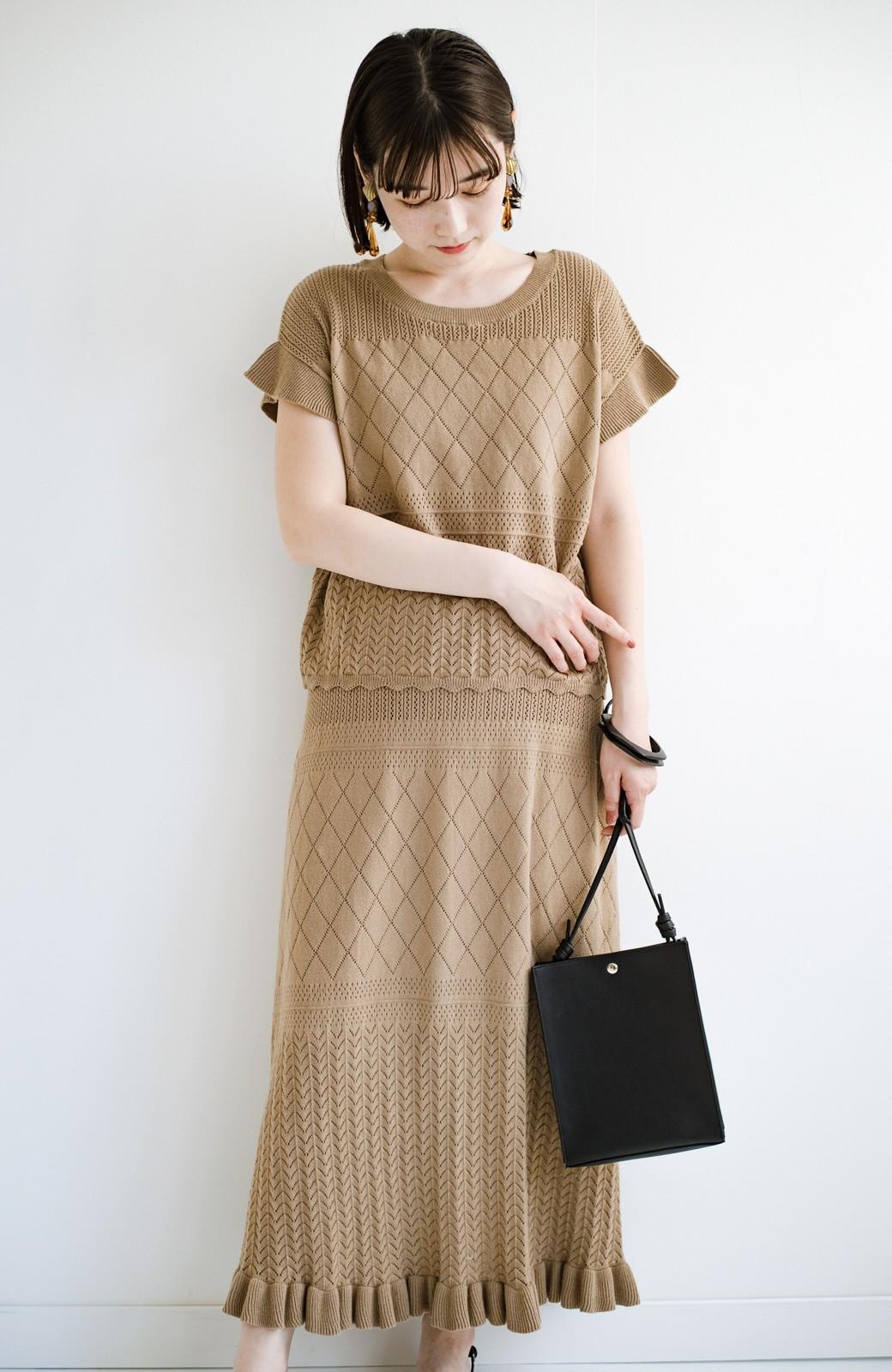 haco! (φ)Tシャツにもスウェットにも!裏地付きで長く着られる透かし編みニットスカート <カーキブラウン>の商品写真22