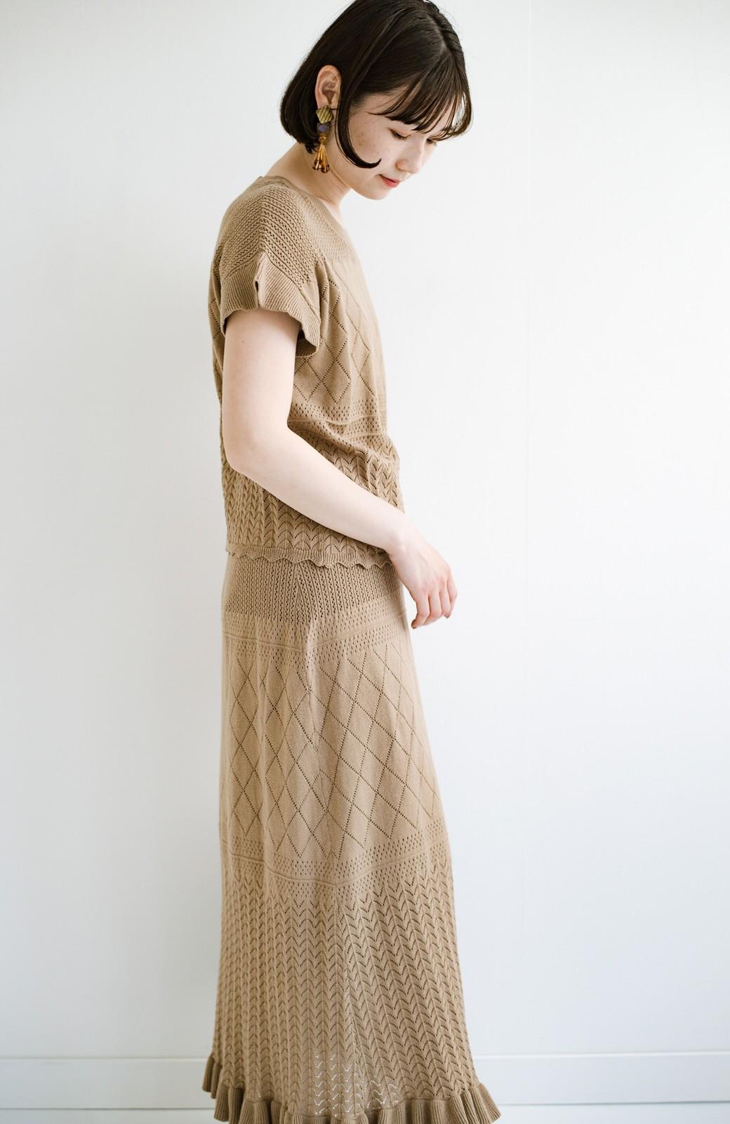 haco! (φ)Tシャツにもスウェットにも!裏地付きで長く着られる透かし編みニットスカート <カーキブラウン>の商品写真23