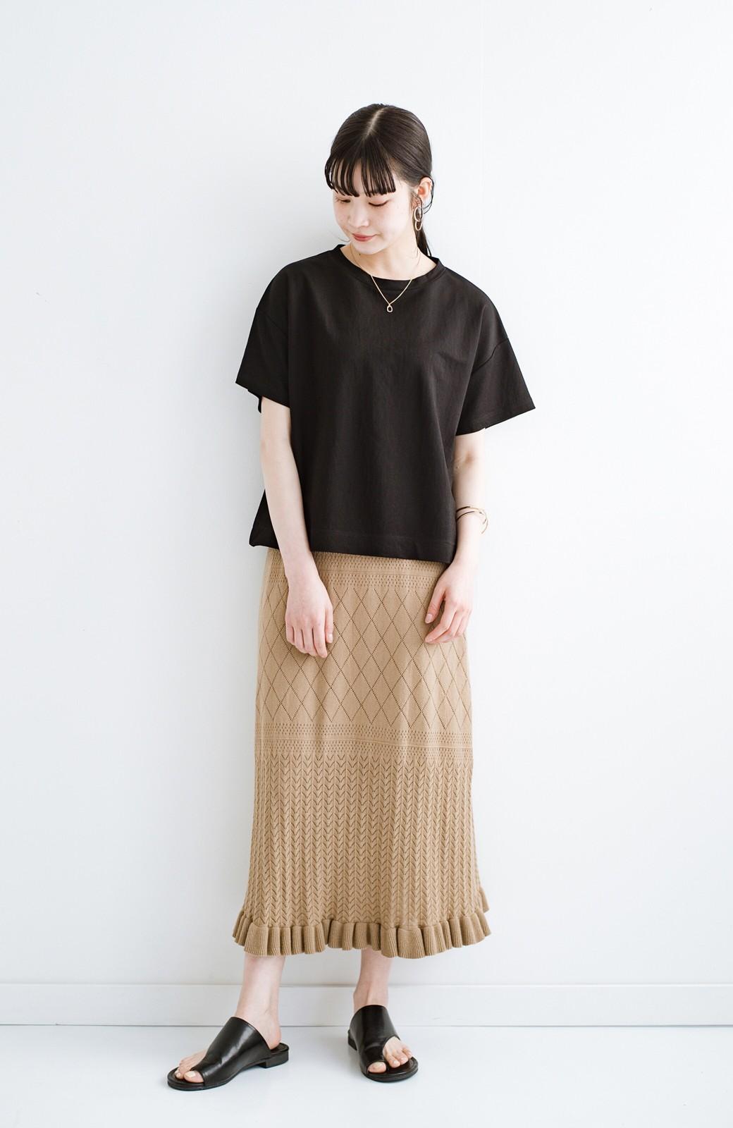 haco! (φ)Tシャツにもスウェットにも!裏地付きで長く着られる透かし編みニットスカート <カーキブラウン>の商品写真7