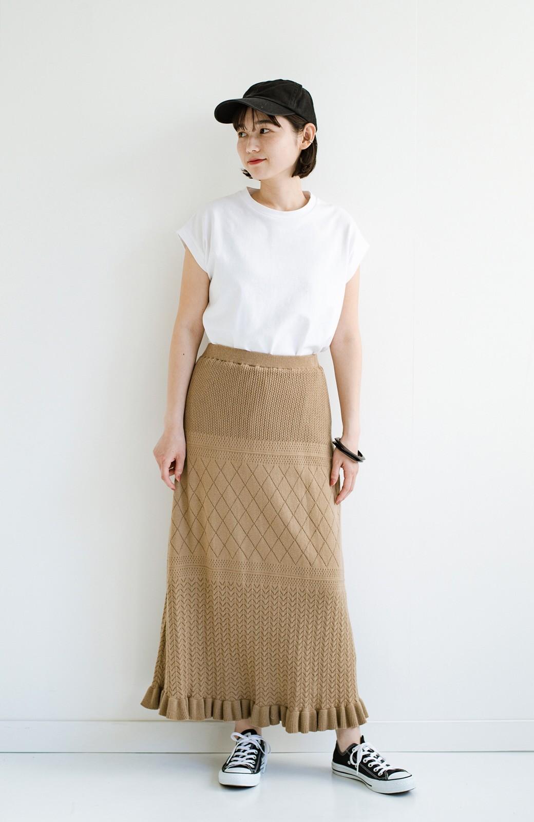 haco! (φ)Tシャツにもスウェットにも!裏地付きで長く着られる透かし編みニットスカート <カーキブラウン>の商品写真17