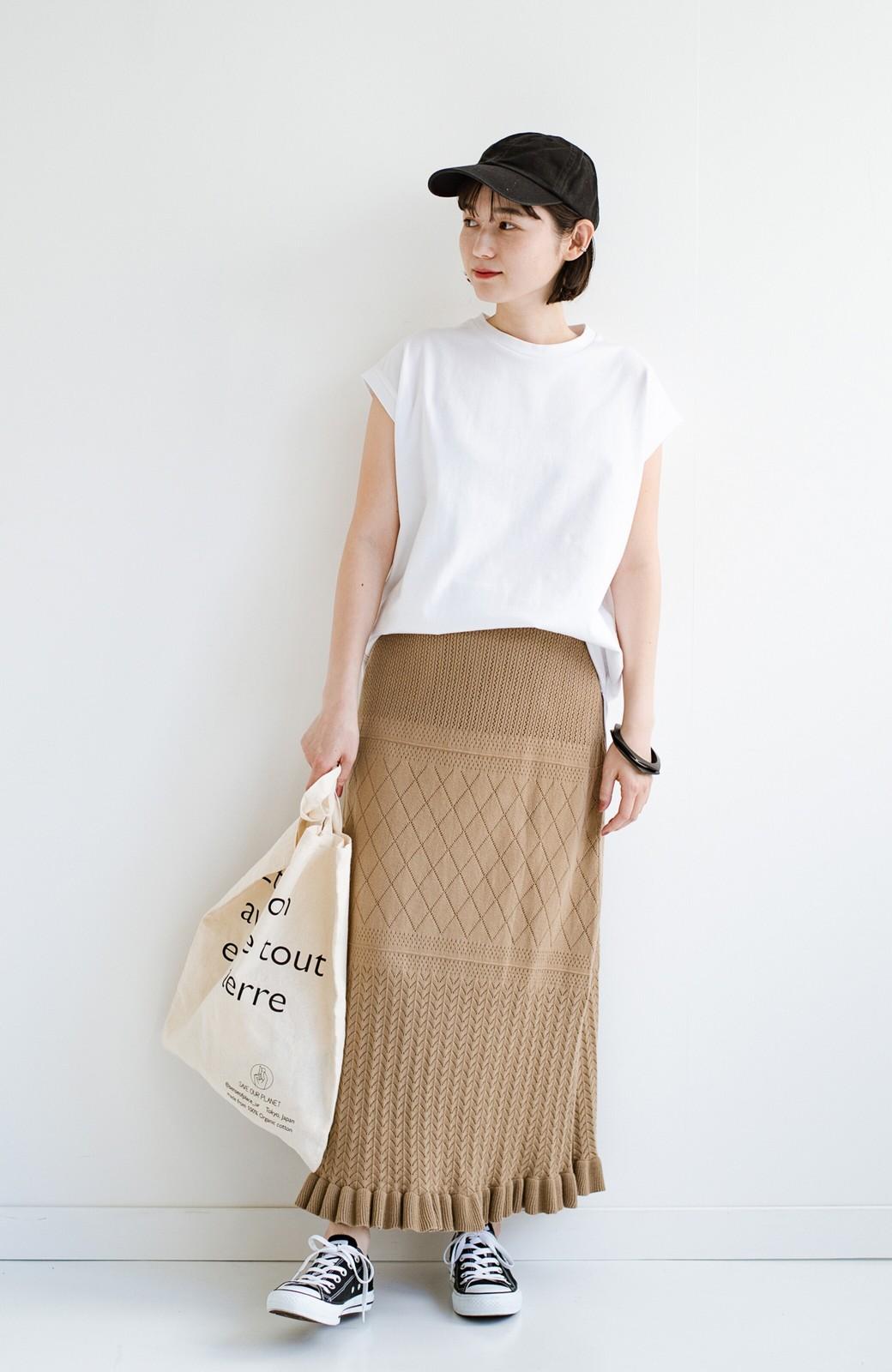 haco! (φ)Tシャツにもスウェットにも!裏地付きで長く着られる透かし編みニットスカート <カーキブラウン>の商品写真15