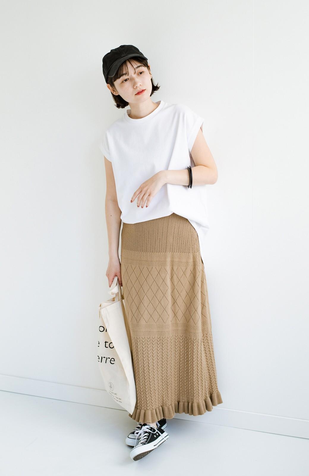 haco! (φ)Tシャツにもスウェットにも!裏地付きで長く着られる透かし編みニットスカート <カーキブラウン>の商品写真16