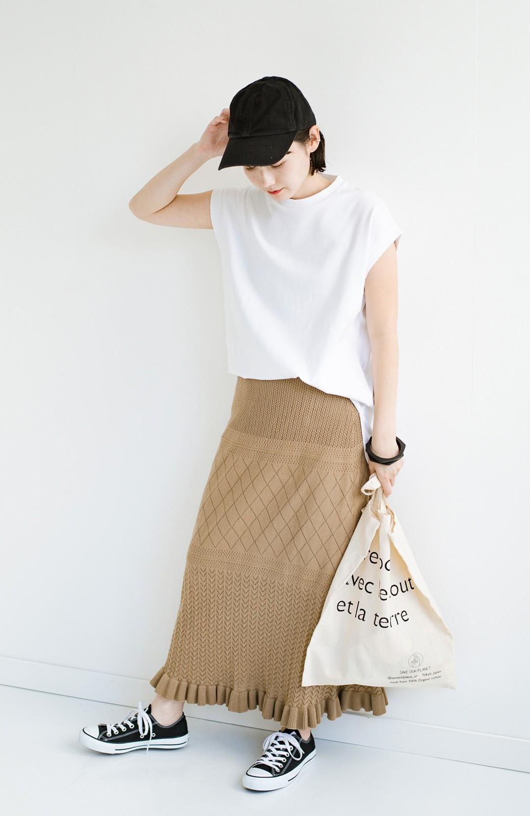 haco! (φ)Tシャツにもスウェットにも!裏地付きで長く着られる透かし編みニットスカート <カーキブラウン>の商品写真6