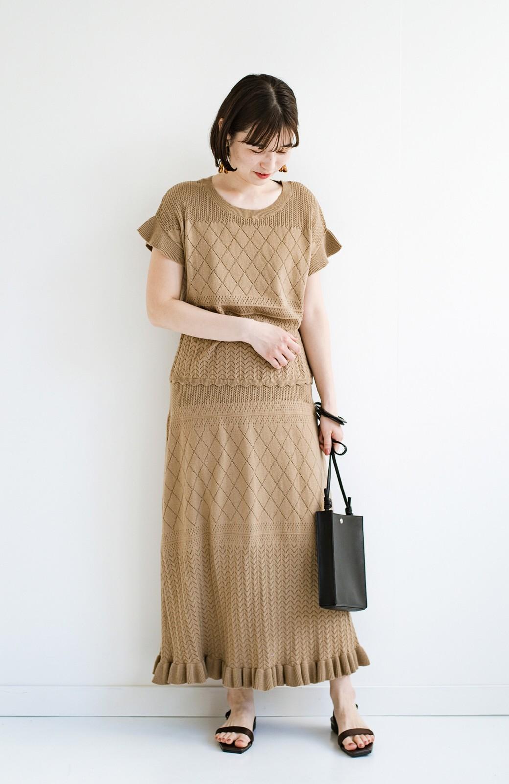 haco! (φ)Tシャツにもスウェットにも!裏地付きで長く着られる透かし編みニットスカート <カーキブラウン>の商品写真14