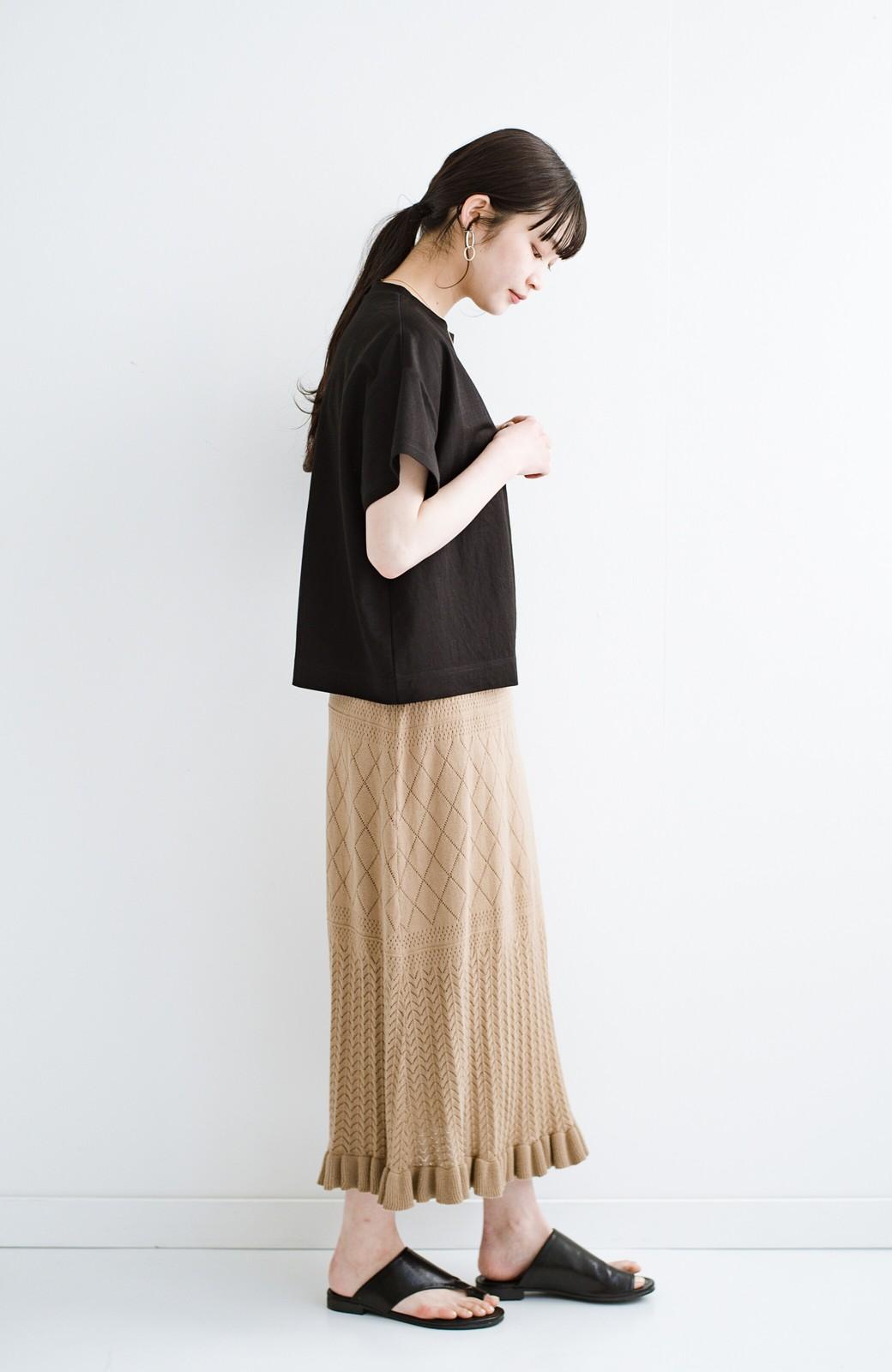 haco! (φ)Tシャツにもスウェットにも!裏地付きで長く着られる透かし編みニットスカート <カーキブラウン>の商品写真18