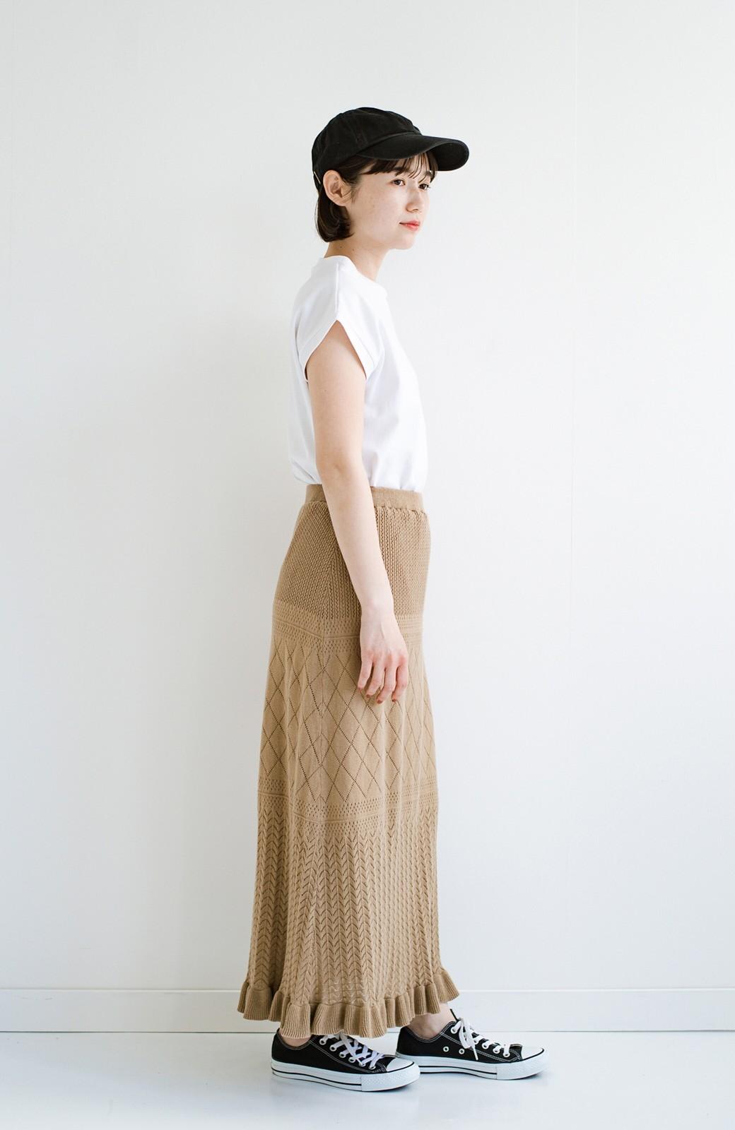 haco! (φ)Tシャツにもスウェットにも!裏地付きで長く着られる透かし編みニットスカート <カーキブラウン>の商品写真19