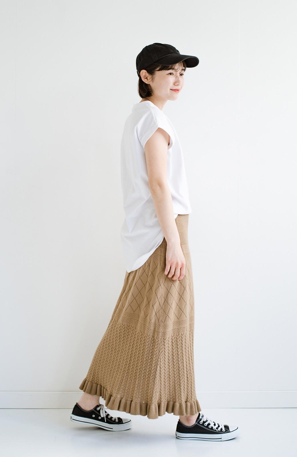 haco! (φ)Tシャツにもスウェットにも!裏地付きで長く着られる透かし編みニットスカート <カーキブラウン>の商品写真13