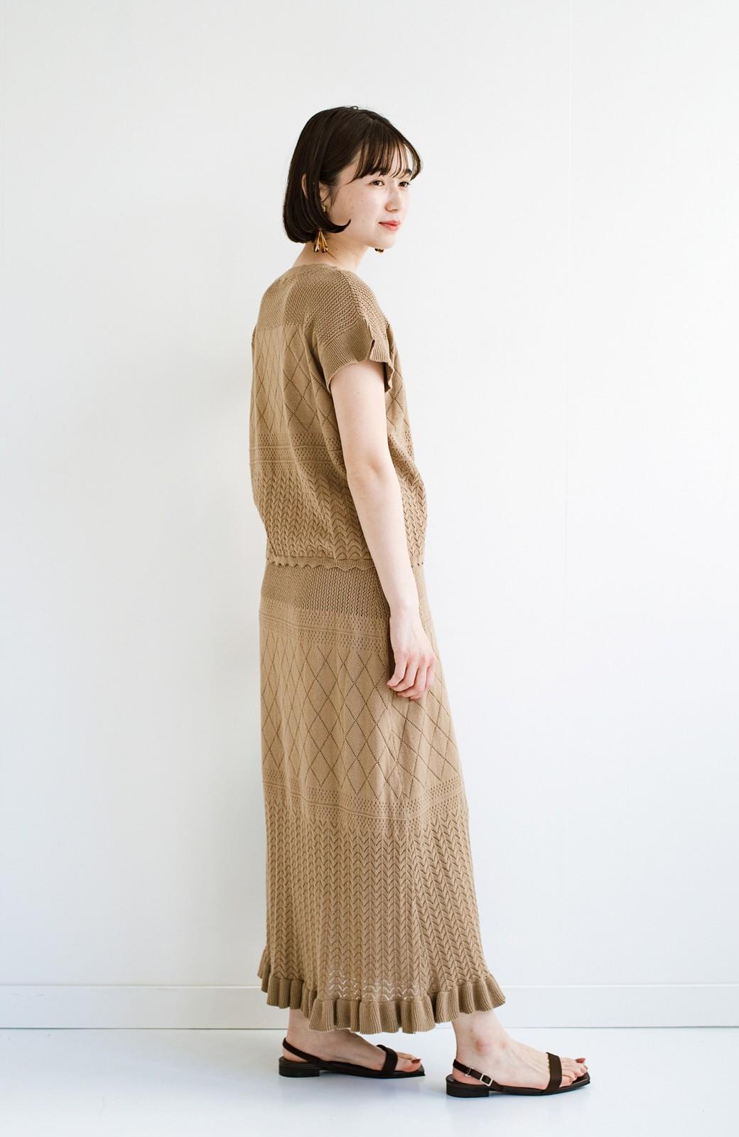 haco! (φ)Tシャツにもスウェットにも!裏地付きで長く着られる透かし編みニットスカート <カーキブラウン>の商品写真20