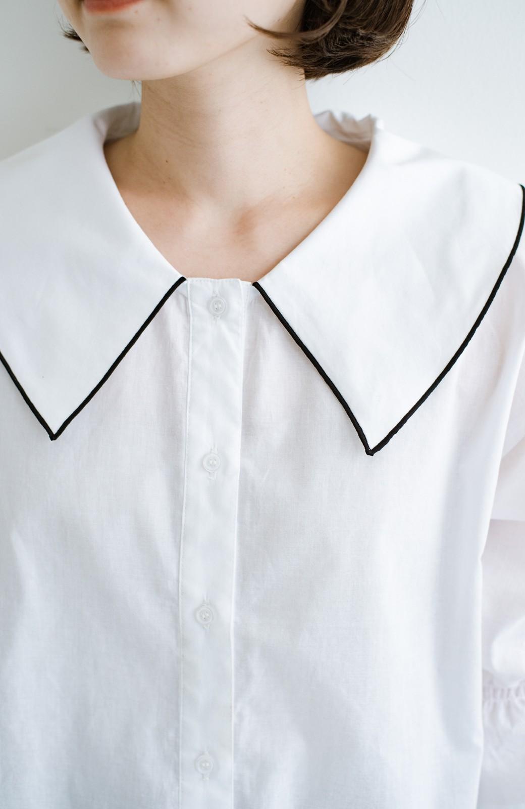 haco! (φ)甘さ控えめで照れずに着られる 今っぽおしゃれなビッグカラーブラウス <ホワイト>の商品写真8