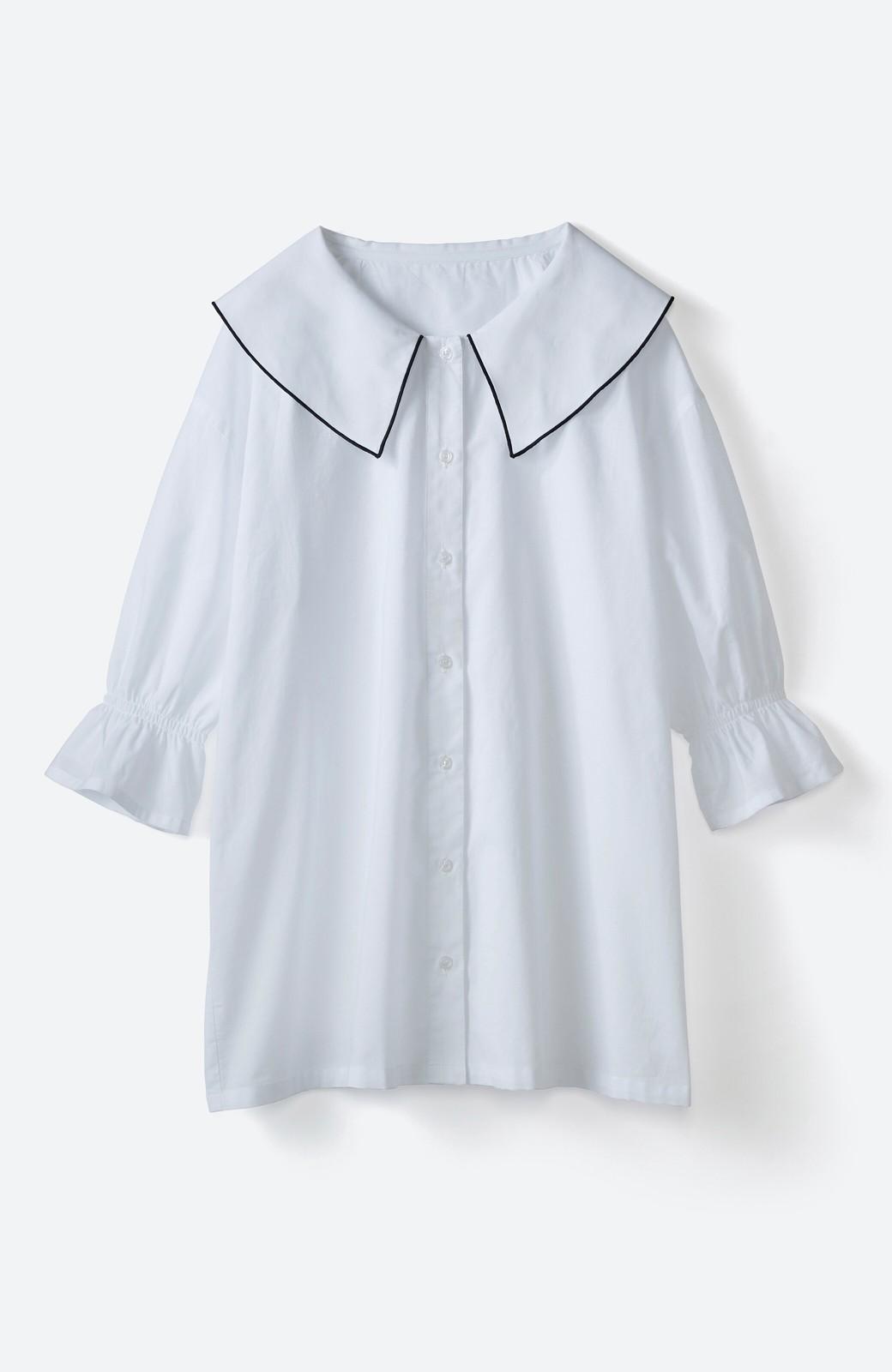 haco! (φ)甘さ控えめで照れずに着られる 今っぽおしゃれなビッグカラーブラウス <ホワイト>の商品写真5
