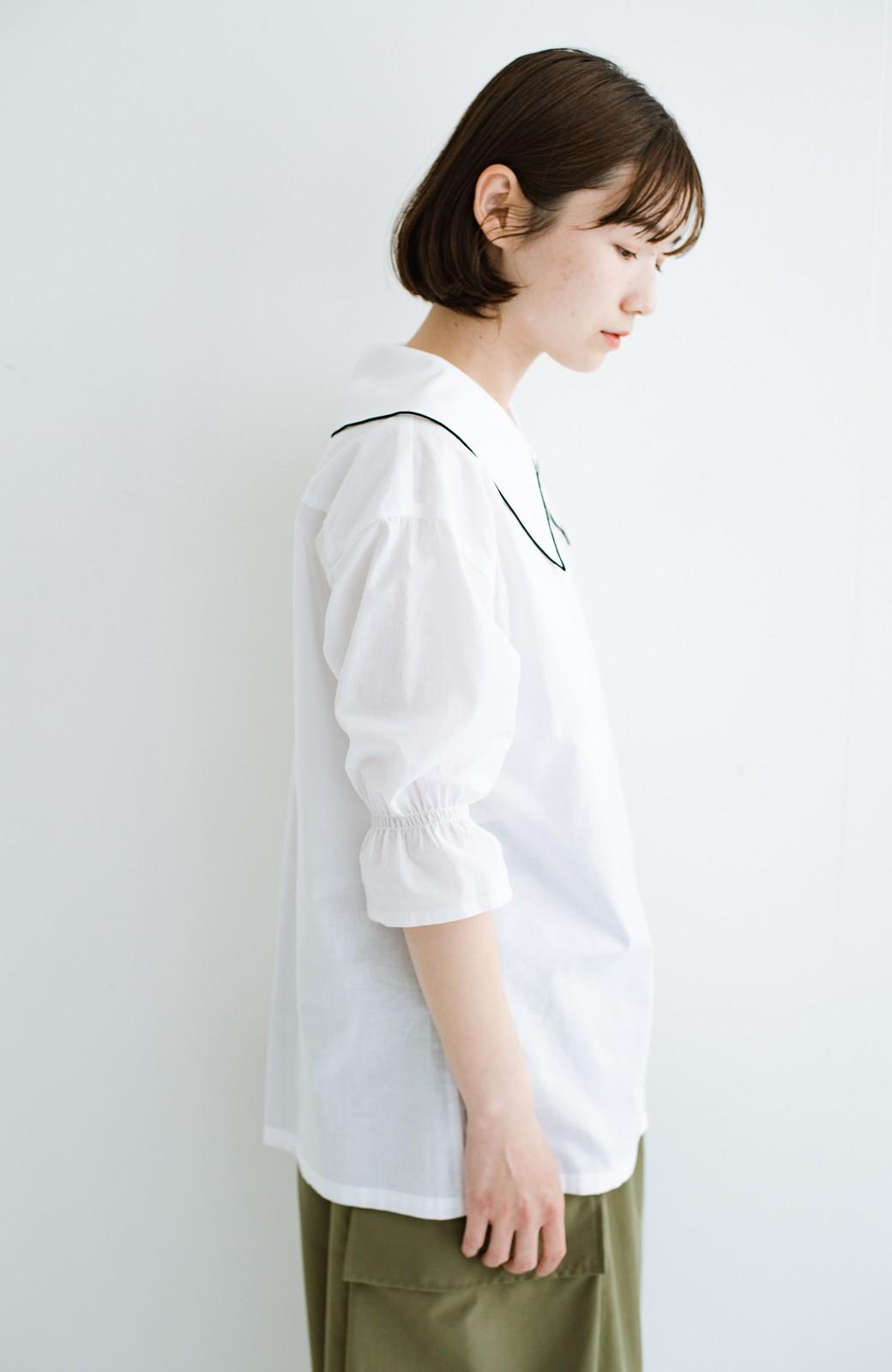 haco! (φ)甘さ控えめで照れずに着られる 今っぽおしゃれなビッグカラーブラウス <ホワイト>の商品写真21