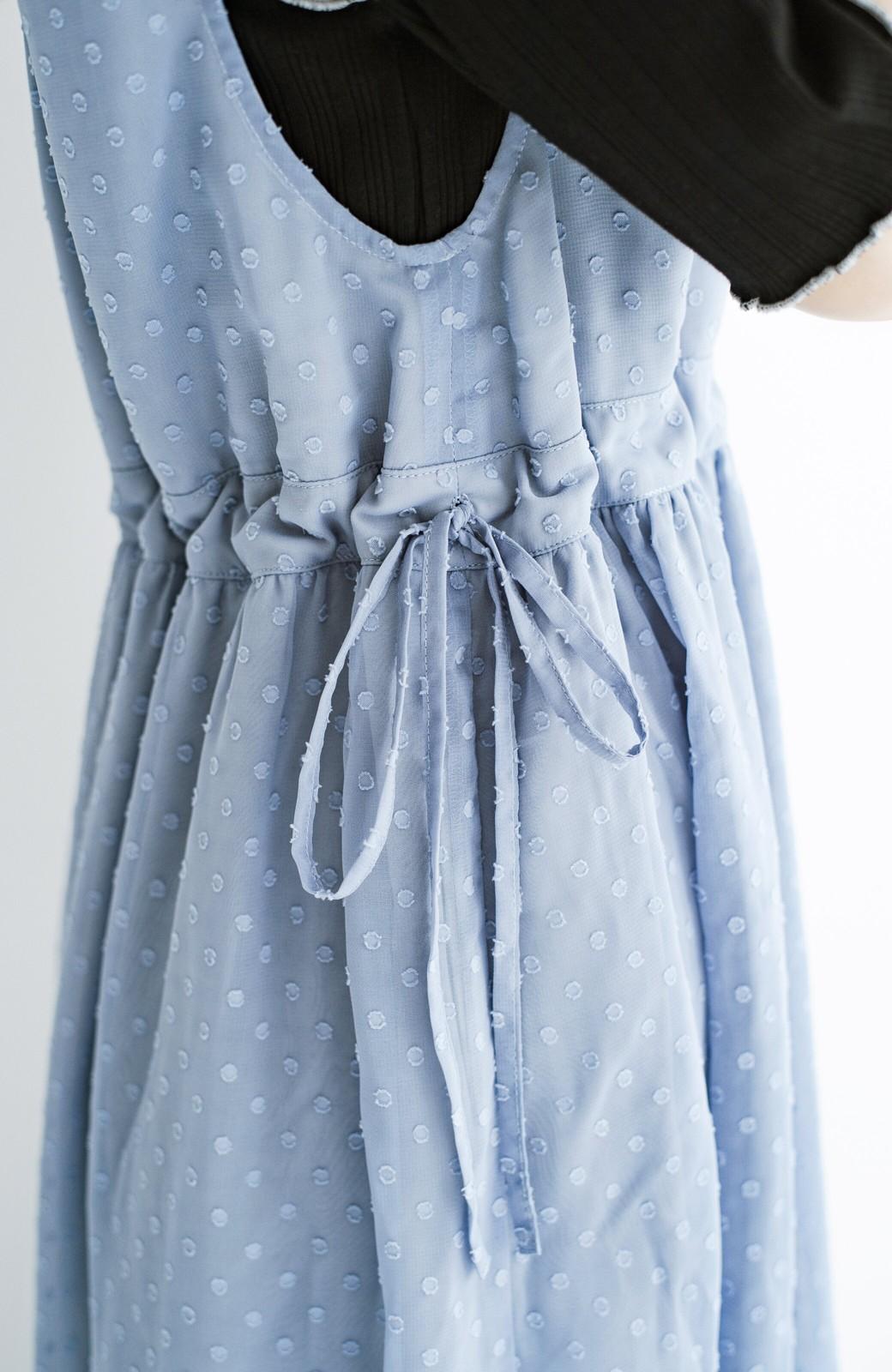 haco! (φ)普段にもちょっとしたきちんとシーンにも!着まわし上手になれるドビードットジャンパースカート <グレイッシュブルー>の商品写真11
