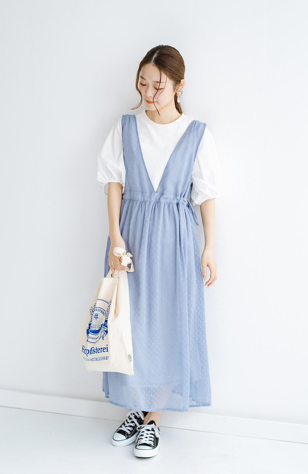 haco! (φ)普段にもちょっとしたきちんとシーンにも!着まわし上手になれるドビードットジャンパースカート <グレイッシュブルー>の商品写真15